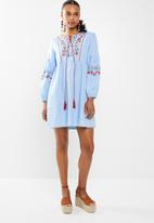 STYLE REPUBLIC - Embroided tunic dress - blue