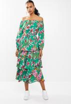 STYLE REPUBLIC - Bardot ruffle maxi dress - green