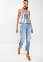 New Look - Go light rainbow sequin cami - silver