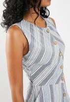 edit - Fit and flare linen blend dress - muti