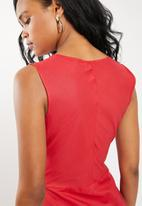 edit - Fit and flare linen blend dress - red