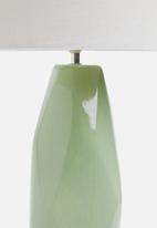 Sixth Floor - Tall facet lamp - soft teal