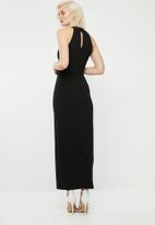 Superbalist - Hi neck maxi dress with thigh high slit - black