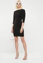 Superbalist - 3/4 sleeve zip detail midi dress - black