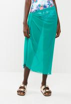 Sun Love - Mesh long wrap skirt - turquoise