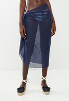 Sun Love - Mesh long wrap skirt - navy