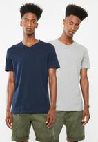 Superbalist - V-neck short sleeve 2 pack tee - navy & grey melange