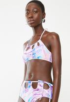 South Beach  - Pastel marble print high waist bikini top - multi