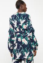 STYLE REPUBLIC - Volume wrap kimono jacket - navy