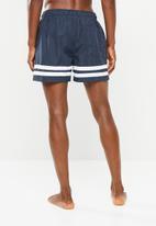 Brave Soul - Small stripe swimwear shorts - navy & white