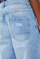 Brave Soul - Skater cropped ripped denim - blue