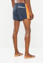 Brave Soul - Side stripe swimwear shorts - navy & orange