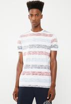 Brave Soul - Coast printed stripe T-shirt - blue & red