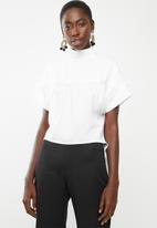DAVID by David Tlale - Sarafina short sleeve blouse - white