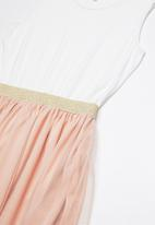 Rebel Republic - Combo dress - white & peach