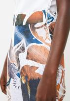 DAVID by David Tlale - Mmeli palazzo pants - blue, orange & white