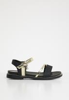 POP CANDY - Metalic crossover sandals - black