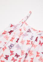 Twin Clothing - Frill Summer butterfly print dress - pink & white