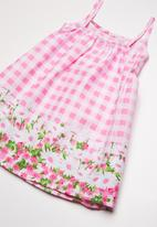 Twin Clothing - Frill Summer border print dress - pink & white