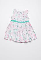 Twin Clothing - Fit and flare butterfly print dress - blue & pink