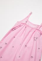Twin Clothing - Frill Summer mini heart print dress - pink