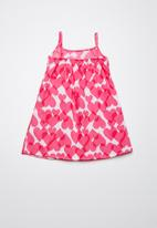 Twin Clothing - Frill Summer heart print dress - pink & white
