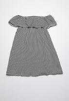 Rebel Republic - Bardot frill dress - black & white stripe