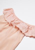 Rebel Republic - Bardot frill dress - apricot