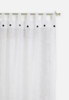 Sixth Floor - Button detail tab top unlined curtain - white