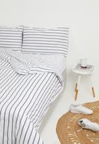 Sixth Floor - Azure stripe printed duvet set - grey