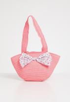 POP CANDY - Straw tote bag with bow detail - pink