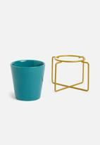 Present Time - Coy plant pot ceramic - petrol blue