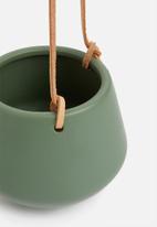 Present Time - Skittle hanging pot ceramic small - matte jungle green
