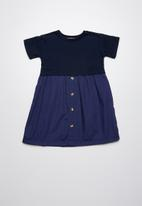 Superbalist - Button through combo dress - navy