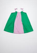 Superbalist - Colourblock smock dress - purple & green