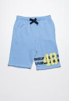POP CANDY - Printed fleece drawstring shorts - blue