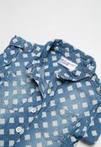 POP CANDY - Denim playsuit - blue & white