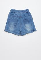 POP CANDY - Printed denim shorts - blue