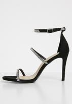 Footwork - Diamante detail ankle strap heels - black