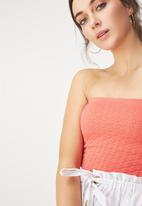 Cotton On - Siobhan seam free jacuard tube top - coral