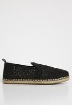 Toms - Lace leaves women's deconstructed espadrille - black