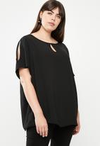 edit Plus - Cold shoulder tunic - black