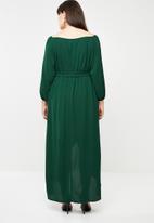 edit Plus - Bardot neckline long sleeve dress - green