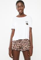 New Look - K bye animal pyjama short set - brown & white