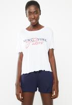 New Look - New york j'adore pyjama set - blue & white