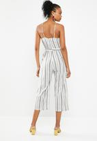 Superbalist - Linen blend striped jumpsuit - navy and white stripe