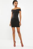 Superbalist - Wrap front bodycon dress with strap detail - black