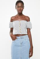 STYLE REPUBLIC - Front button bardot top - blue & white