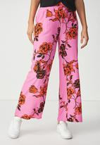 Cotton On - Wide leg pants floral - pink