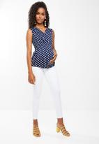 edit Maternity - Wrap over sleeveless top - navy